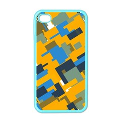 Blue yellow shapes Apple iPhone 4 Case (Color)