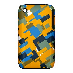 Blue yellow shapes Apple iPhone 3G/3GS Hardshell Case (PC+Silicone)