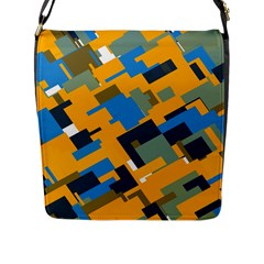 Blue yellow shapes Flap Closure Messenger Bag (L)