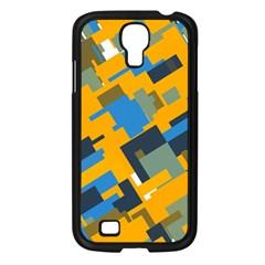 Blue yellow shapes Samsung Galaxy S4 I9500/ I9505 Case (Black)