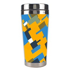 Blue yellow shapes Stainless Steel Travel Tumbler