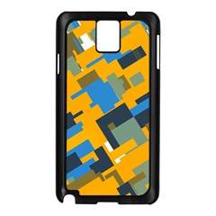 Blue Yellow Shapes Samsung Galaxy Note 3 N9005 Case (black)