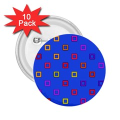 3d Squares On A Blue Background 2 25  Button (10 Pack)