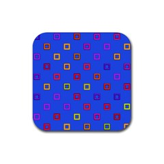 3d squares on a blue background Rubber Coaster (Square)