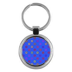 3d squares on a blue background Key Chain (Round)