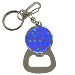 3d squares on a blue background Bottle Opener Key Chain