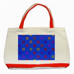 3d squares on a blue background Classic Tote Bag (Red)