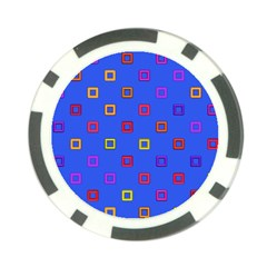 3d squares on a blue background Poker Chip Card Guard