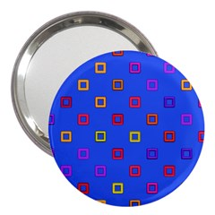 3d squares on a blue background 3  Handbag Mirror