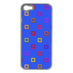 3d squares on a blue background Apple iPhone 5 Case (Silver)