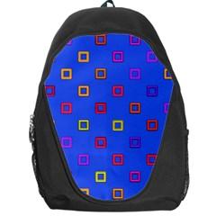 3d squares on a blue background Backpack Bag