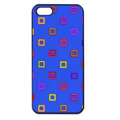 3d squares on a blue background Apple iPhone 5 Seamless Case (Black)