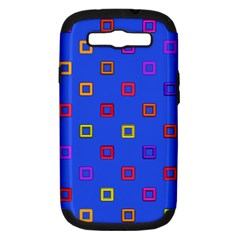 3d squares on a blue background Samsung Galaxy S III Hardshell Case (PC+Silicone)