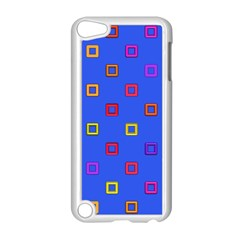 3d squares on a blue background Apple iPod Touch 5 Case (White)
