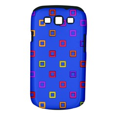 3d squares on a blue background Samsung Galaxy S III Classic Hardshell Case (PC+Silicone)