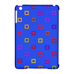 3d squares on a blue background Apple iPad Mini Hardshell Case (Compatible with Smart Cover)