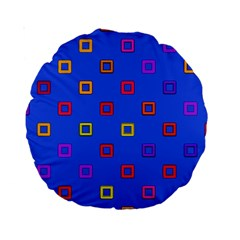 3d squares on a blue background Standard 15  Premium Round Cushion