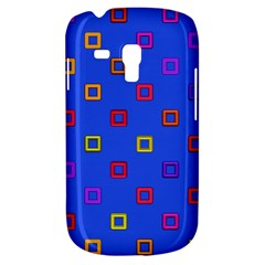 3d squares on a blue background Samsung Galaxy S3 MINI I8190 Hardshell Case