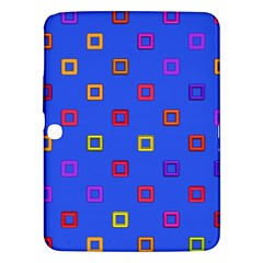 3d squares on a blue background Samsung Galaxy Tab 3 (10.1 ) P5200 Hardshell Case