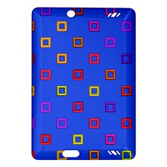 3d squares on a blue background Kindle Fire HD (2013) Hardshell Case