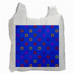 3d squares on a blue background Recycle Bag