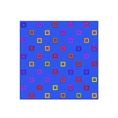 3d squares on a blue background Satin Bandana Scarf