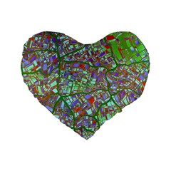 Fantasy City Maps 2 Standard 16  Premium Flano Heart Shape Cushions