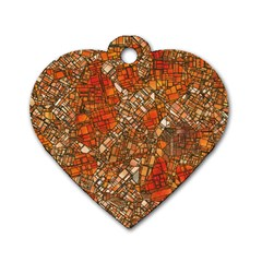 Fantasy City Maps 3 Dog Tag Heart (Two Sides)