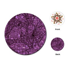 Fantasy City Maps 4 Playing Cards (Round)