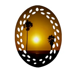 Sunset Scene At The Coast Of Montevideo Uruguay Ornament (oval Filigree)