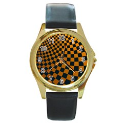 Abstract Square Checkers  Round Gold Metal Watches