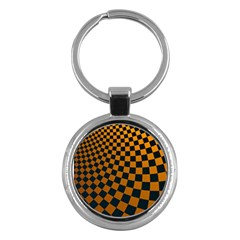 Abstract Square Checkers  Key Chains (Round)