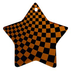Abstract Square Checkers  Star Ornament (Two Sides)