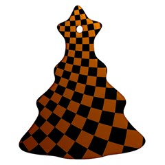 Abstract Square Checkers  Christmas Tree Ornament (2 Sides)