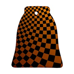 Abstract Square Checkers  Bell Ornament (2 Sides)