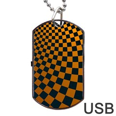 Abstract Square Checkers  Dog Tag Usb Flash (one Side)