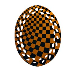 Abstract Square Checkers  Ornament (Oval Filigree)