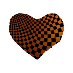 Abstract Square Checkers  Standard 16  Premium Heart Shape Cushions