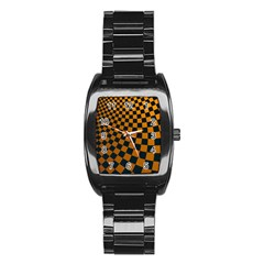 Abstract Square Checkers  Stainless Steel Barrel Watch