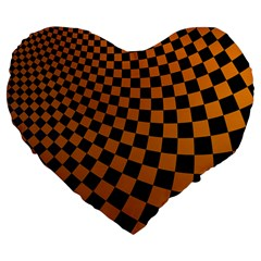 Abstract Square Checkers  Large 19  Premium Flano Heart Shape Cushions