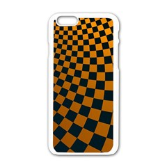 Abstract Square Checkers  Apple iPhone 6/6S White Enamel Case