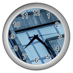 Abstract View Of Modern Buildings Wall Clocks (silver)