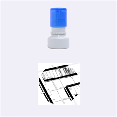 Abstract View Of Modern Buildings Rubber Round Stamps (Small)
