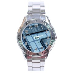 Abstract View Of Modern Buildings Stainless Steel Men s Watch
