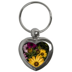 Beautiful Colourful African Daisies  Key Chains (heart)