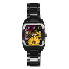 Beautiful Colourful African Daisies  Stainless Steel Barrel Watch