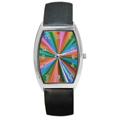 Abstract Rainbow Barrel Metal Watches