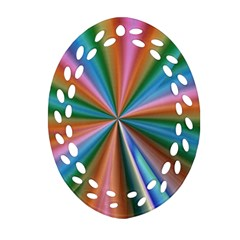 Abstract Rainbow Oval Filigree Ornament (2 Side)