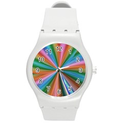 Abstract Rainbow Round Plastic Sport Watch (m)