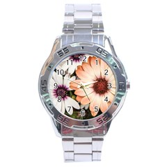 Beautiful Colourful African Daisies Stainless Steel Men s Watch